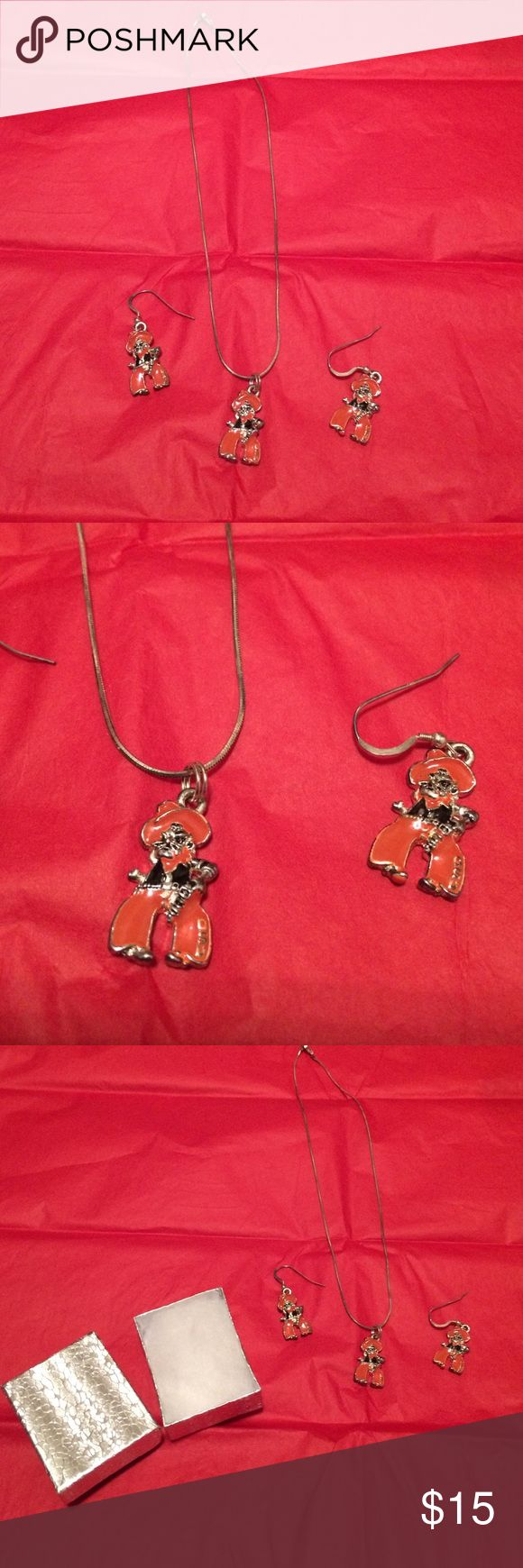 Oklahoma State University jewelry Adorable Oklahoma State University necklace and earrings set brand new never worn comes with gift box Jewelry