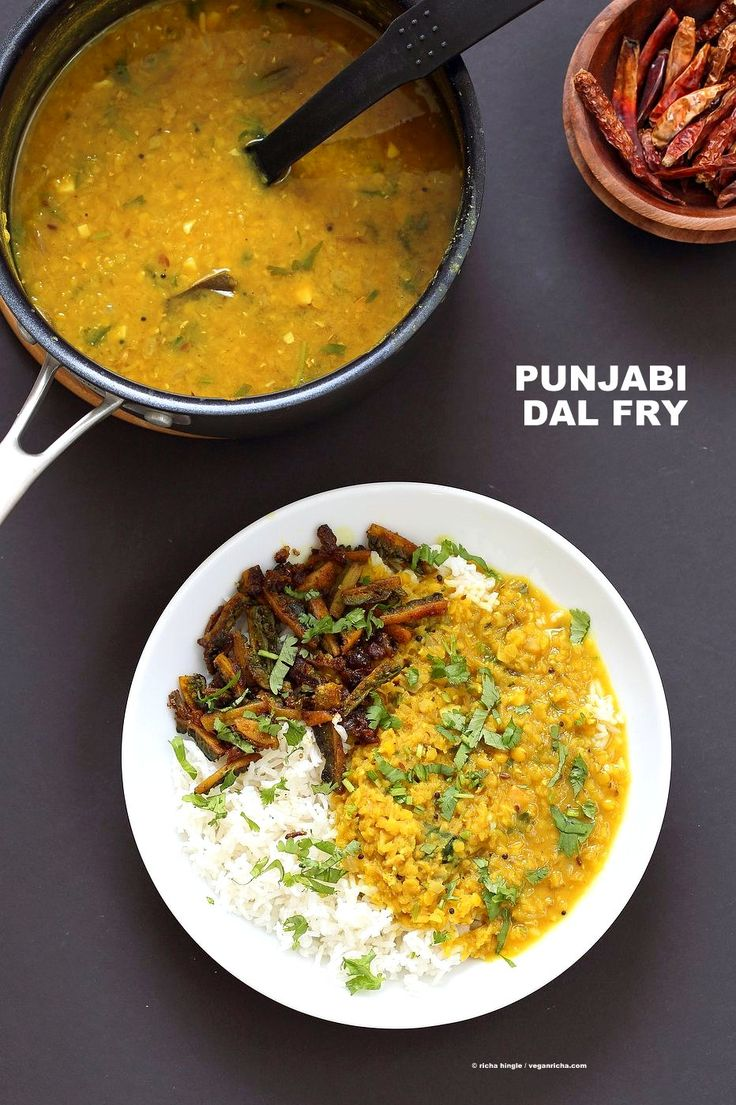 Punjabi Dal Fry Recipe. Easy Dal Fry with whole spices and garam masala. Lentil Dhal. Or use split peas. Vegan Gluten-free Soy-free Indian Recipe.   VeganRicha.com