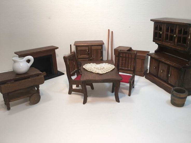 Vintage Dollhouse Dining Room Set Wood Table Hutch Fireplace 112 Various