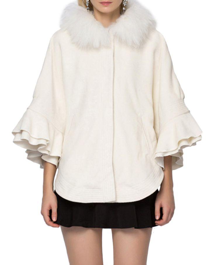 Flounced-sleeves Fur-trimmed Loose Cloak Coat | BlackFive