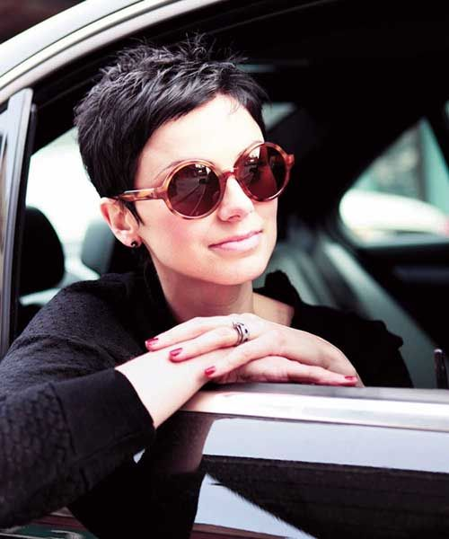 Trendy Extremely Short Dark Pixie Cut