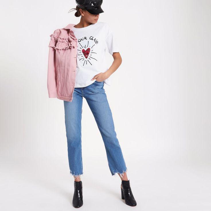 White 'amour club' sequin heart T-shirt - Print T-Shirts / Vests - T-Shirts & Vests - Tops - women