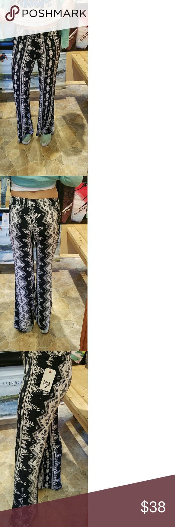 Billabong beach pants Black and white beach pants. Made of 100% rayon. Never been worn. New with tags! All offers considered and please feel free to ask questions!!!! Billabong Pants