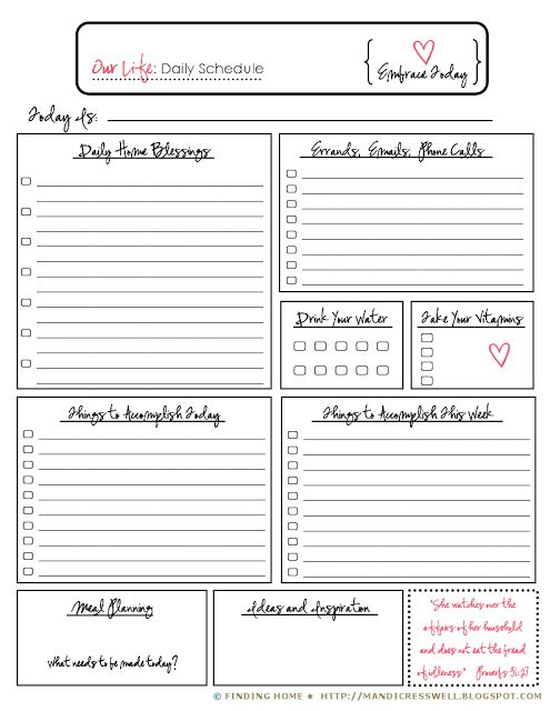 46 best Planner Pages images on Pinterest - daily task planner template
