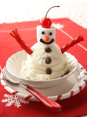 Ice Cream Snowman...this is cute for the kids christmas eve dessert