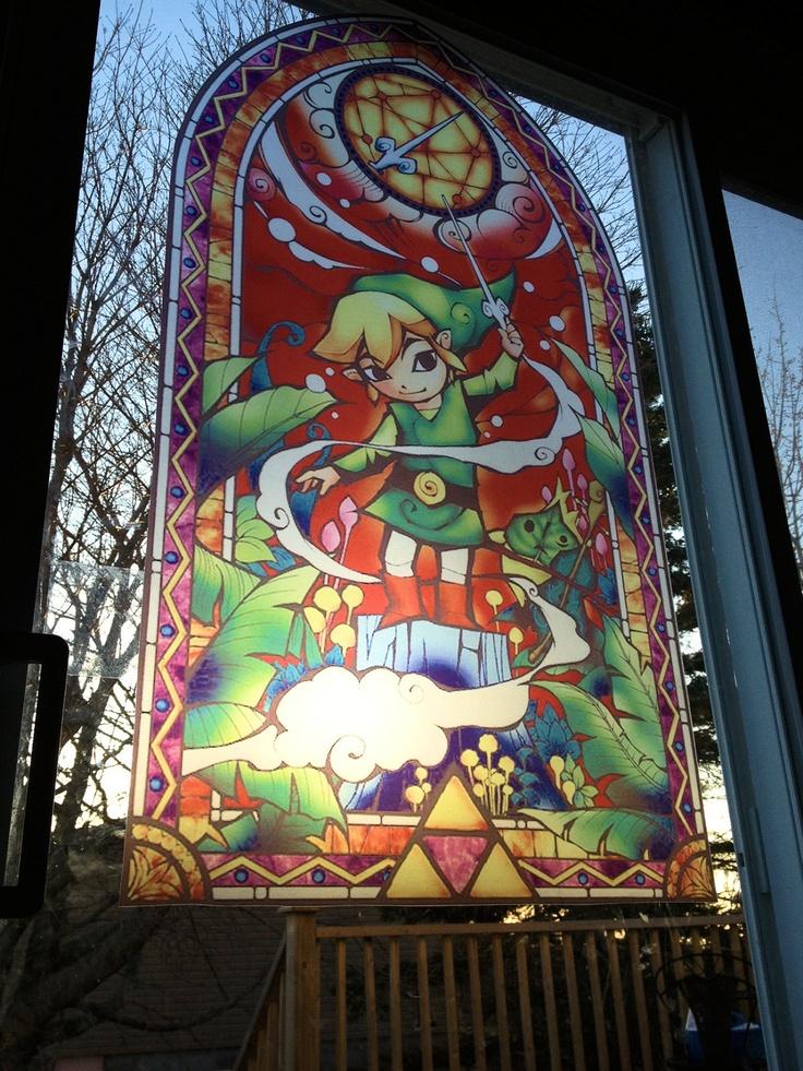 STAINED GLASS imitation Zelda Wind Waker 39.5x22 inch window glass art. $49.99, via Etsy.