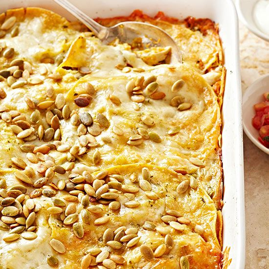 Infusing this tortilla-and-chicken bake with pumpkin completely transforms the classic casserole. Sprinkle pepitas on top for extra flavor and pretty presentation.