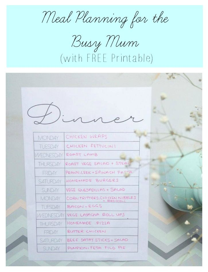 Meal Planning for the Busy Mum saving you time and money with FREE Printable
