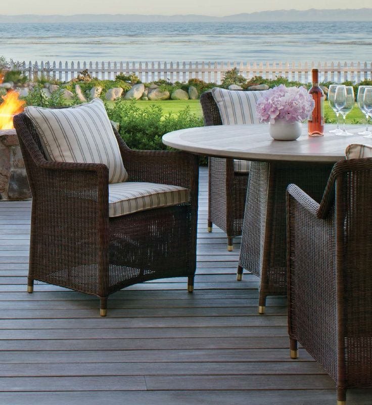 Luxury Outdoor Furniture By Brown Jordan. This Features The Southampton  Collection With Brown Jordan Fire Collection In The Background.