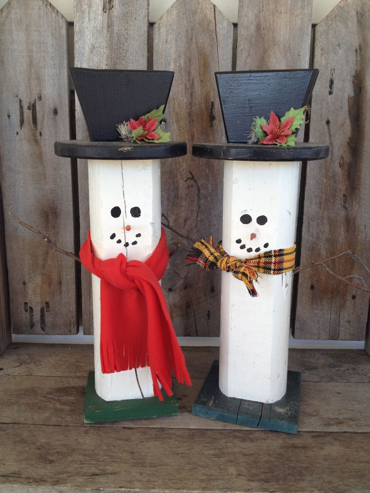 Landscaping Timber Snowmen Christmas Yard Art Holiday