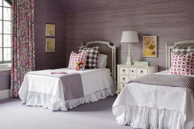 Purple grass cloth wallpaper in a sophisticated girls ...