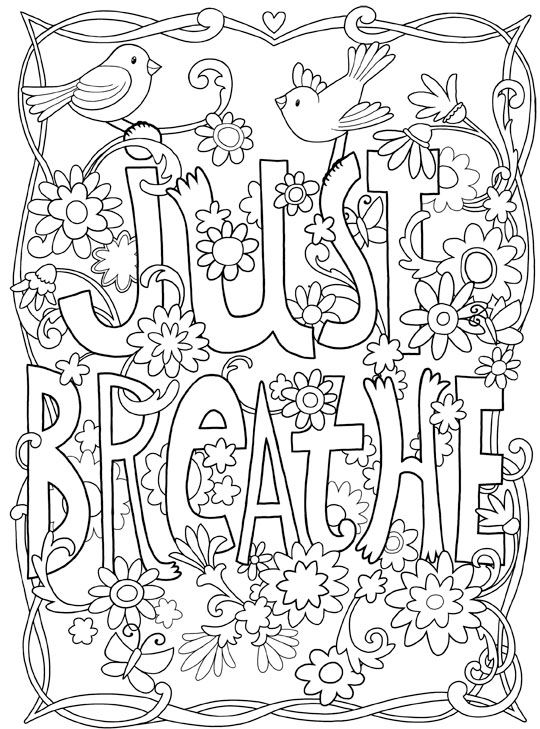 Creative Quotes Coloring Book Just Breathe Colored : Best images about words coloring pages for adults on
