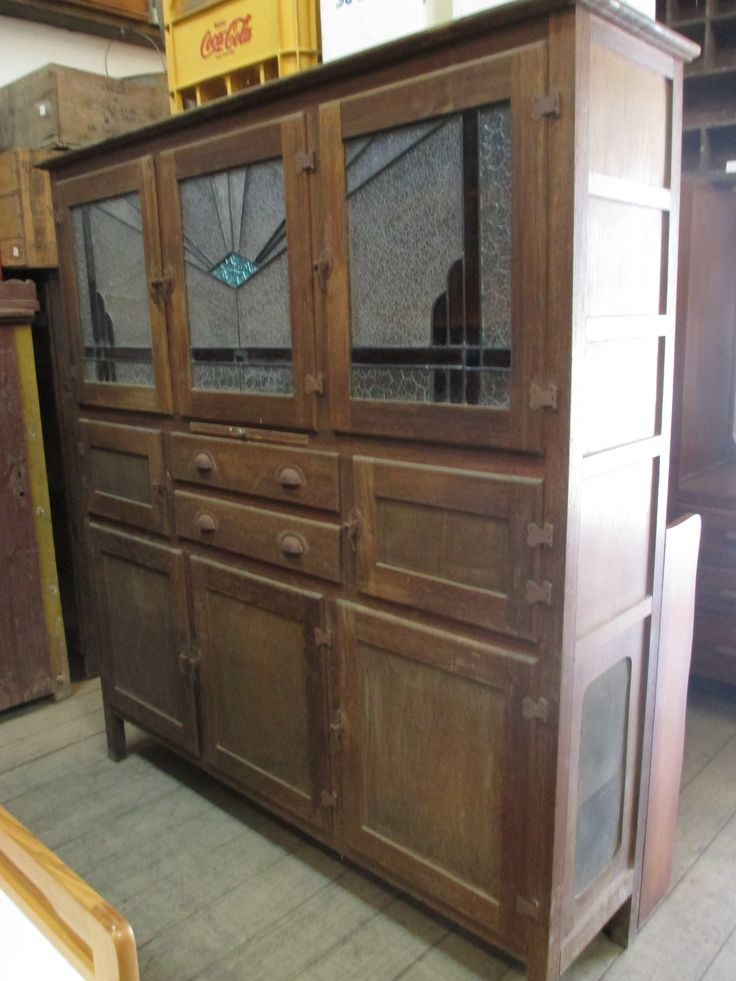 Antique Leadlight Meat Safe Food Storage Kitchen Cabinet