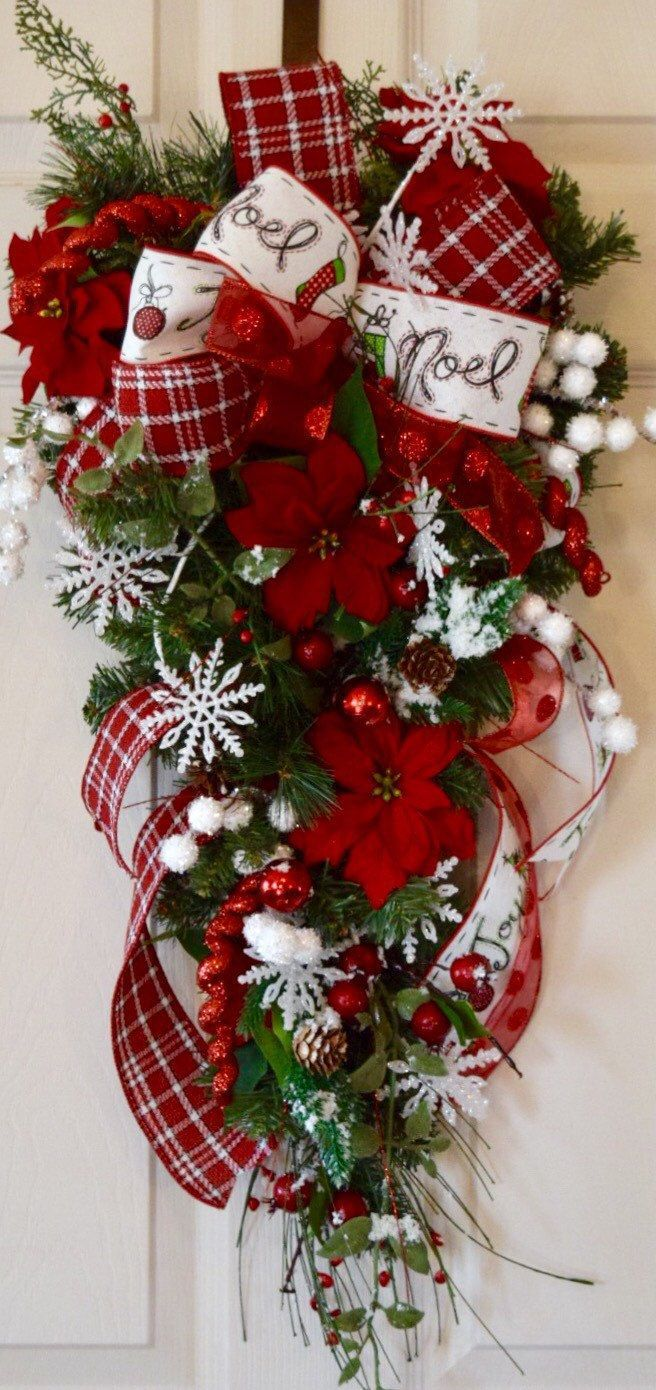 Red and White Teardrop Swag Pine Wreath with Poinsettias Snowflakes Berries and Pine Cones; Winter Holiday Wreath Christmas Decor by ChewsieCreations on Etsy