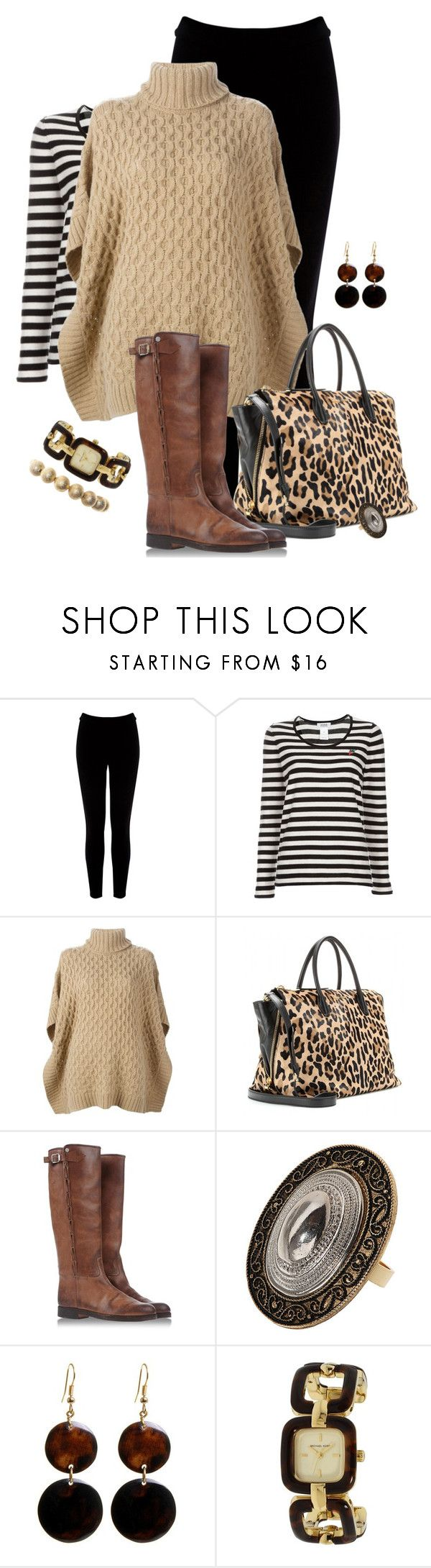 """Stripes & Tan"" by fashionista88 ❤ liked on Polyvore featuring Warehouse, Sonia by Sonia Rykiel, MICHAEL Michael Kors, Miu Miu, Golden Goose, Topshop, Manumit, Michael Kors and Wet Seal"