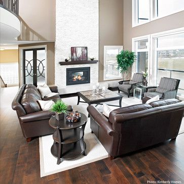 Brown Leather couch with Austin stone fireplace