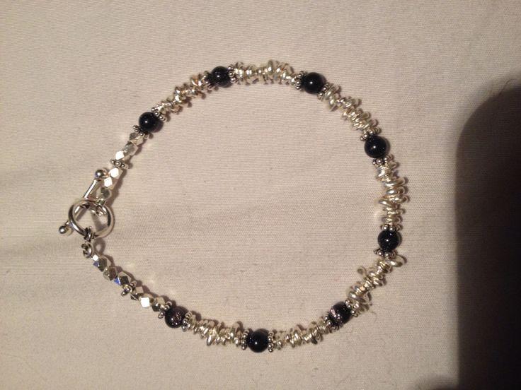 Sterling silver an blue goldstone bracelet