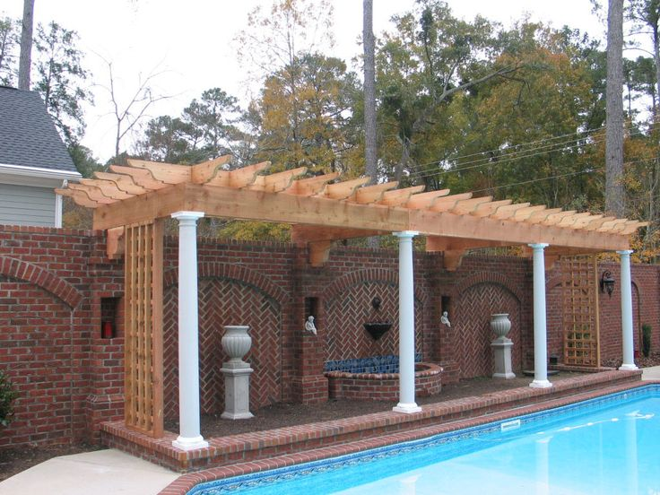 Great Use Of Narrow Space Along Side This Salt Lake City Pool Wood Pergola With