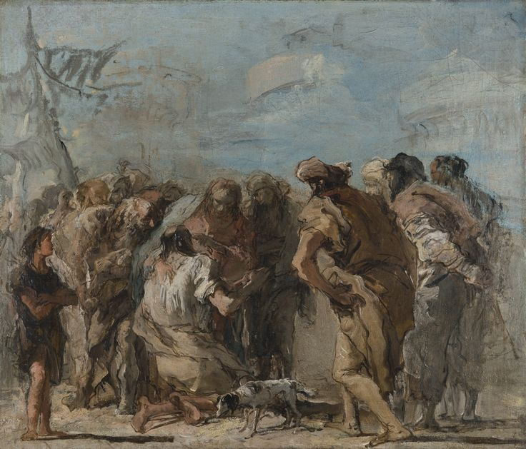 Giandomenico Tiepolo VENICE 1727 - 1804 CHRIST HEALING THE BLIND MAN oil on canvas 48 by 65.5 cm.; 18 7/8  by 25 3/4  in.