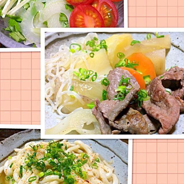 久しぶりの肉じゃがに大好きなセロリのサラダ。 他あり合わせの肴で。 〆は肉じゃが出汁で煮込んだうどん。 また今夜もお腹いっぱいだー。 - 119件のもぐもぐ - 肉じゃが、セロリサラダ              〆のうどん by mottomotto