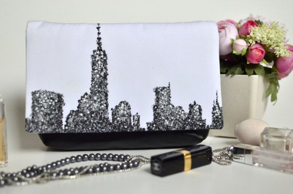 New York purse Statement bag Black and white clutch Hand