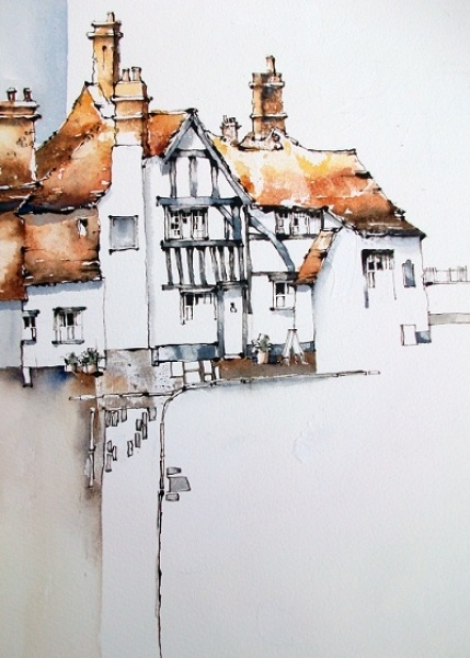 Jeanette Clarke - Line and wash painting of Petworth