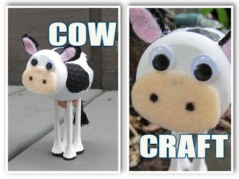 Recycled Golf Ball Cow Craft DIY http://craftklatchwithmona.blogspot.com/2014/07/recycled-golf-ball-cow-craft-diy.html?utm_source=CraftGossip+Daily+Newsletter&utm_campaign=4f851c8493-CraftGossip_Daily_Newsletter&utm_medium=email&utm_term=0_db55426a84-4f851c8493-196060585