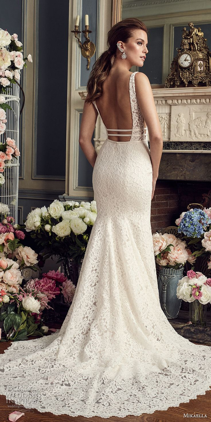 mikaella fall 2017 bridal sleeveless deep plunging sweetheart neckline full embellishment elegant fit and flare wedding dress open square back medium train (2154) bv -- Mikaella Fall 2017 Wedding Dresses
