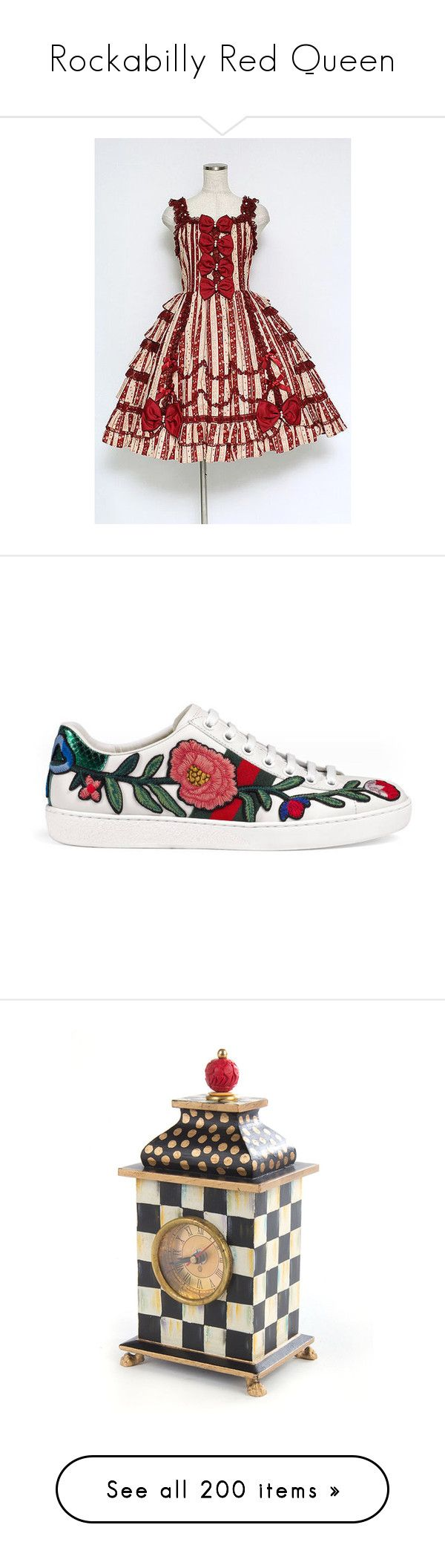 """""""Rockabilly Red Queen"""" by xxxblackrainbowxxx ❤ liked on Polyvore featuring shoes, sneakers, women, gucci shoes, embroidered shoes, leather sneakers, snake shoes, gucci trainers, food and hearts"""