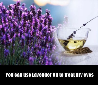 Take a bowl of warm water and add 2-3 drops of lavender oil in it. Dip 2 cotton balls in this mixture.Then squeeze out the excess mixture from the cotton balls and place them on closed eyes. It helps to regain the lost moisture and oil to treat dry eyes.