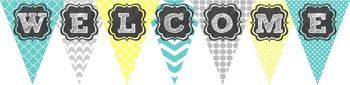 "Editable WELCOME Pennant Banner{Teal | Yellow | Gray}Includes pre-made ""Welcome to Preschool"" bannerThank you!Please remember to leave feedback and earn TpT Credits!"