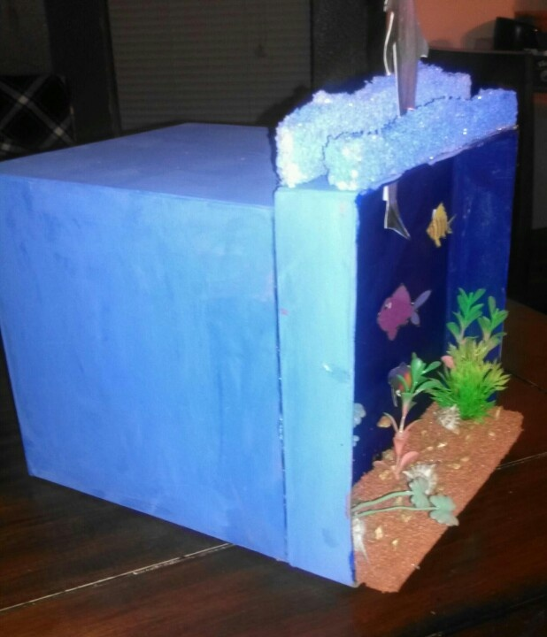 Side view of ocean/dolphin valentine box | Valentine's Day ...