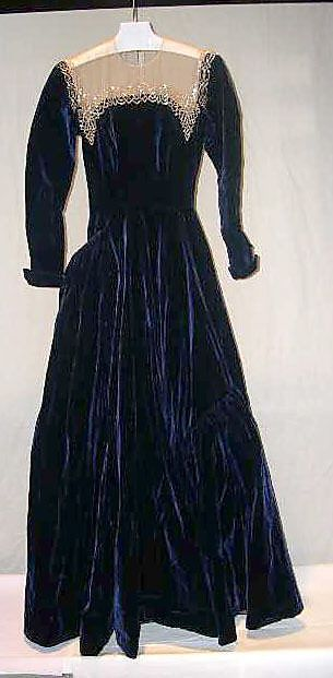 Silk velvet evening dress with embroidered illusion neckline, by Sophie Gimbel for Saks Fifth Avenue, American, 1942.