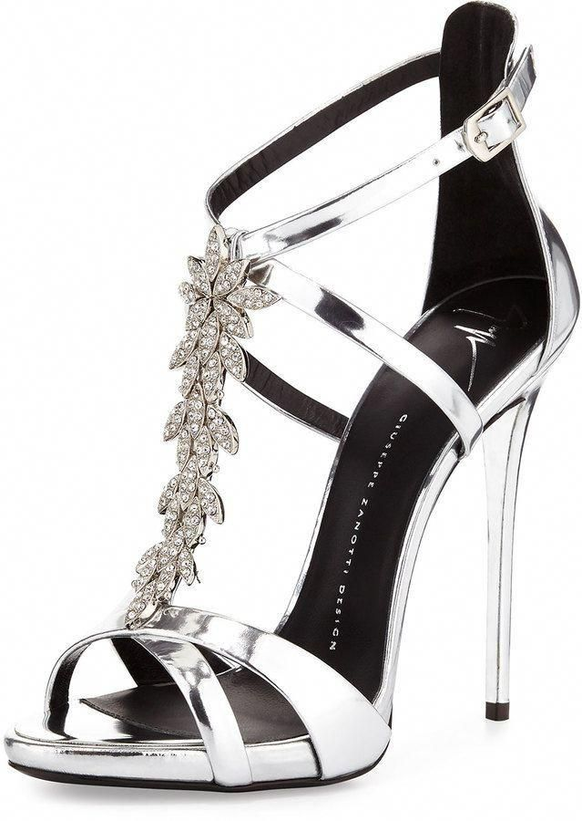 8f9f26142fed Giuseppe Zanotti Jewel-Embellished Metallic Evening Sandal