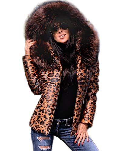 1fa91aa6281d43 Aox Women Winter Faux Fur Hood Down Coat Lady Thicken Puffer Zipper Jacket  Parka (10/12, Leopard Printed)