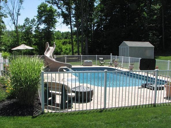 Pool fence in white garden pinterest pool fence - Pool fence landscaping ideas ...
