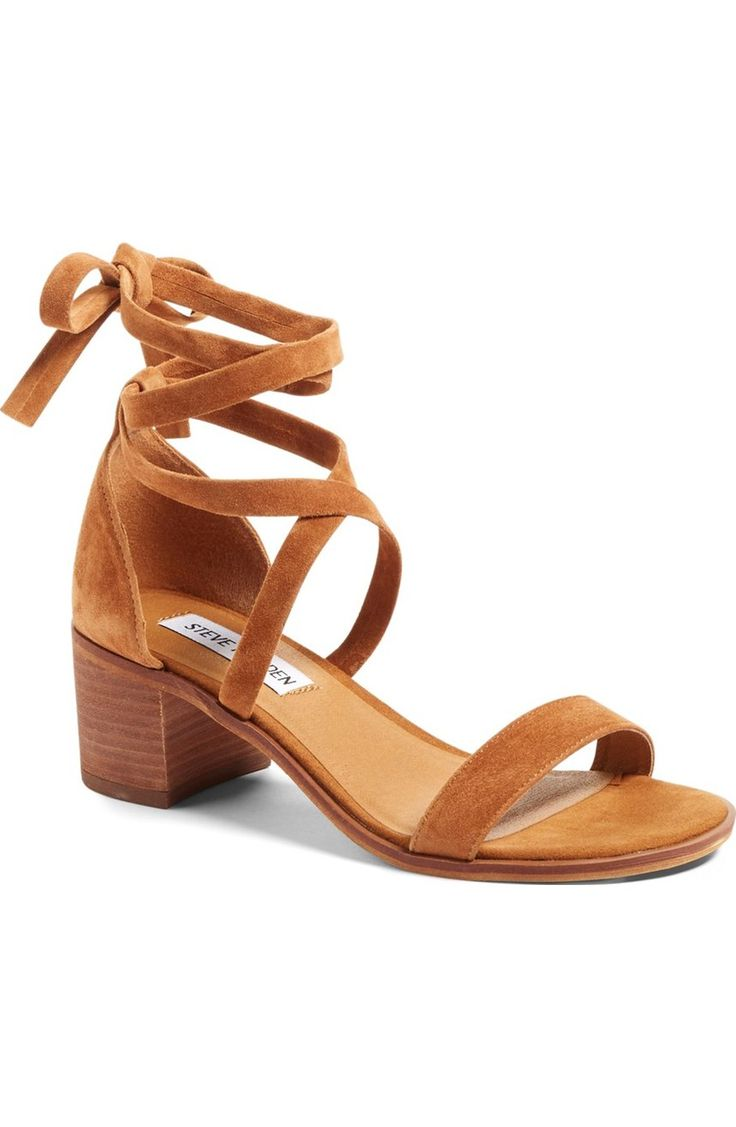 Wraparound suede straps and a stacked block heel ground this neutral, go-to  sandal from Steve Madden.