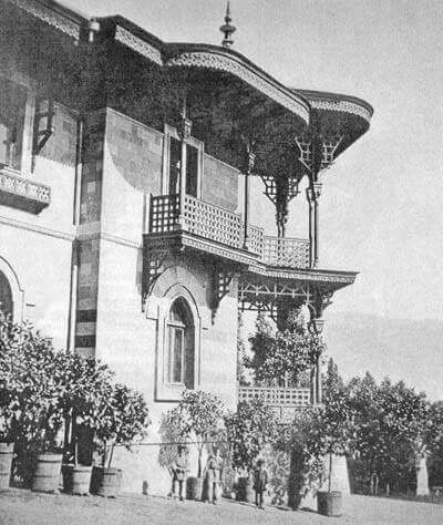 The Maly Palace (Maily) also known as the Small Palace on the Livadia estate, the Crimea. During the reign of Alexander III this was known as the preferred residence of the Imperial Family. It is the Palace where Alexander III died surrounded by his family in 1894. The Maly Palace was destroyed during World War II.