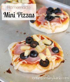 Recipe for homemade pizza crust and dough. My kids love it when we make mini pizzas! #recipe #pizza -from creationsbykara.com