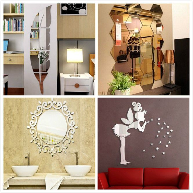 Removable 3D Mirror Feather Wall Vinyl Decals Stickers