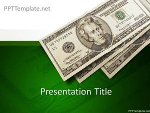 Free Money PPT Template with bills of $20 in the slide design and green background #ppt #templates
