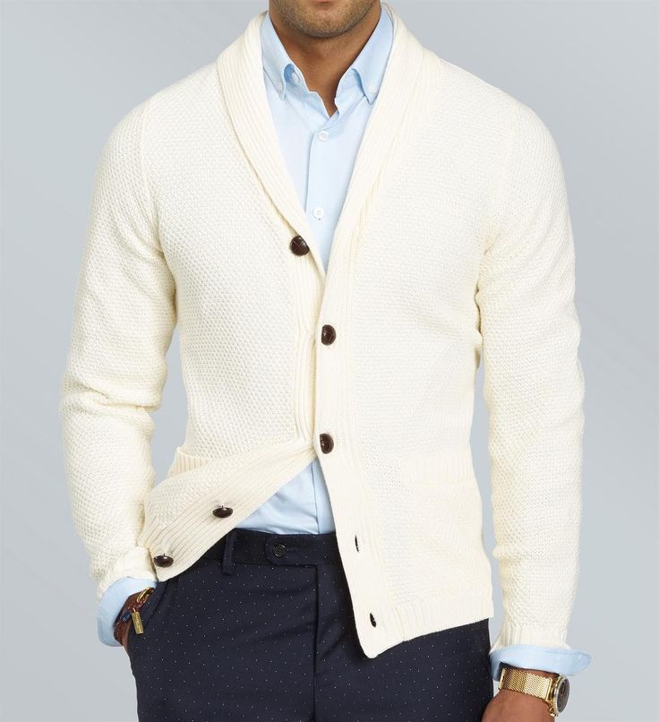 Simple, comfortable and elegant - the Ivory shawl collar cardigan over a Wedgwood button-down shirt, paired with a pair of Navy blue polka dot pants.  www.Grandfrank.com