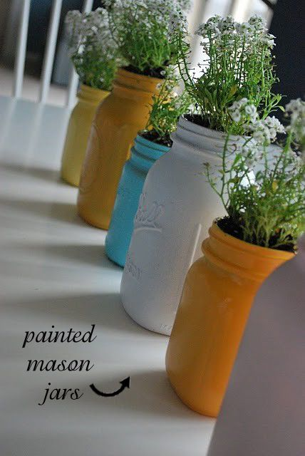 Easy and colorful!: Kitchens Window, Paintings Mason Jars, Idea, Indoor Herbs, Flowers Pots, Painted Mason Jars, Herbs Gardens, Paintings Jars, Mason Jars Planters