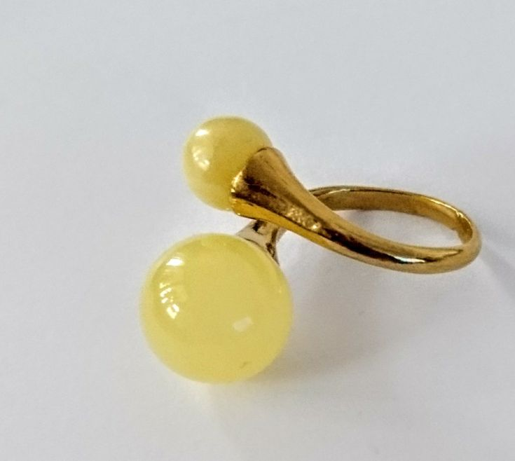 Ring with amber balls, gold plated silver925