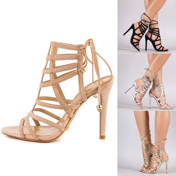 Sommer Sandalen Damen Niet High Heels Wies Fein mit Sexy Straps Modell Catwalk Schuhe, Schwarz, 34