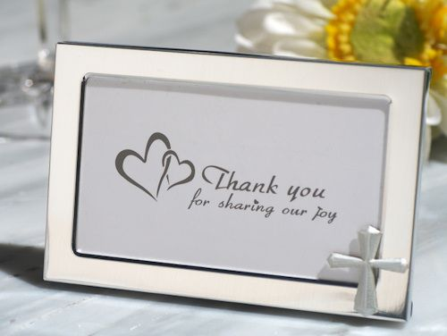 Cross Accented Metal Photo Frame Favors (Cassiani Collection 4334) | Buy at Wedding Favors Unlimited (https://www.weddingfavorsunlimited.com/cross_accented_metal_photo_frame_favors.html).