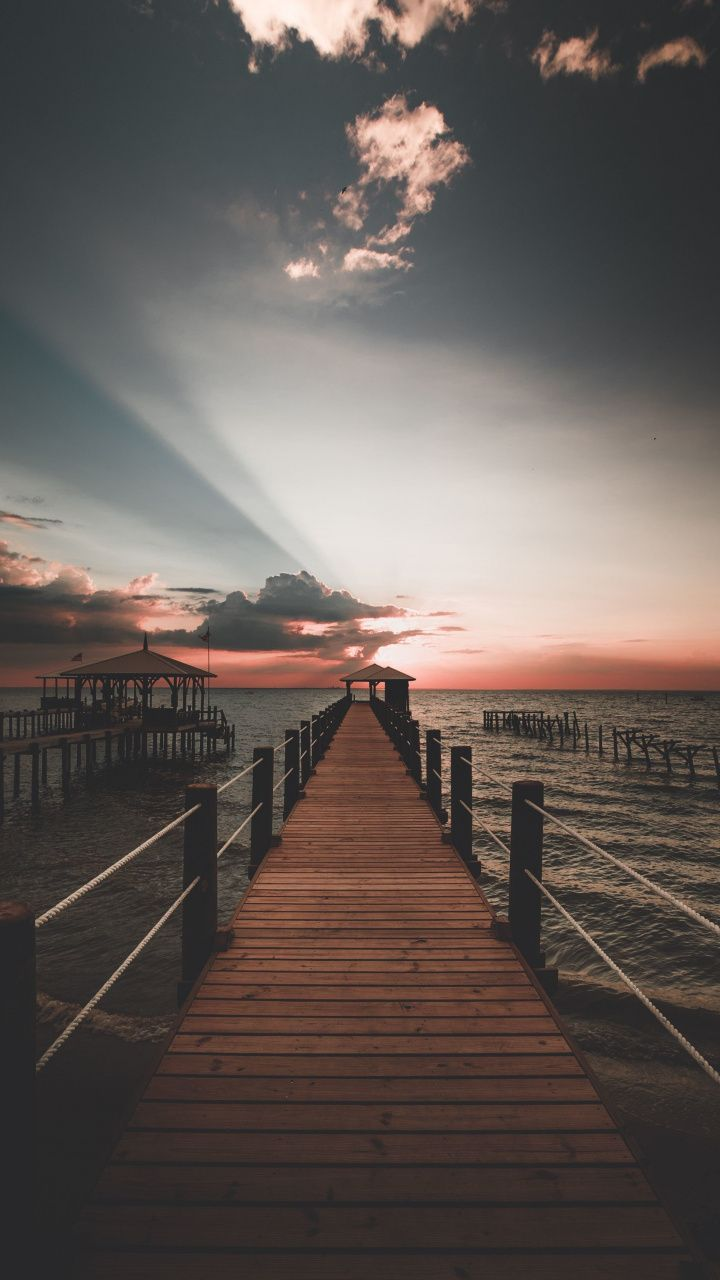 Sunset, skyline, sea, pier, 720×1280 wallpaper