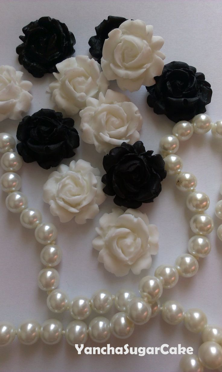 Fondant Edible Roses - 100 pcs, Wedding fondant decorations, Wedding cake topper, Black and white, Cupcake topper, Cookie topper, Bridal by YanchaSugarCake on Etsy