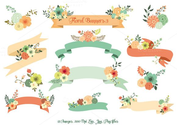 Check out Floral Banners III. Vector Set by Delagrafica on Creative Market would make cute tags for gifts