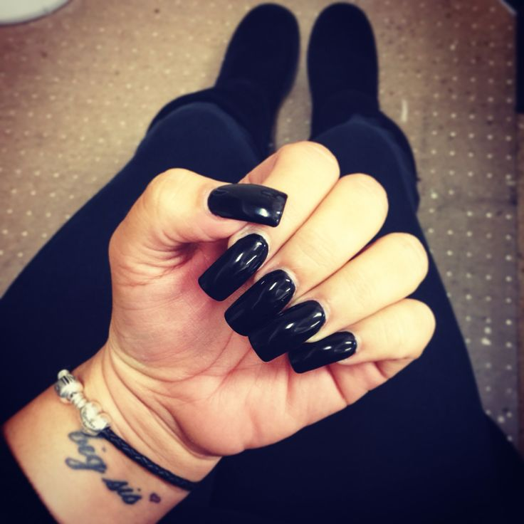 Black long square nails Acrylic black long nails Gel nails Sister tattoo Black on black